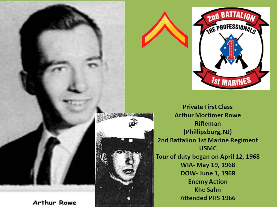 2nd Battalion 1st Marine Regiment Tour of duty began on April 12, 1968