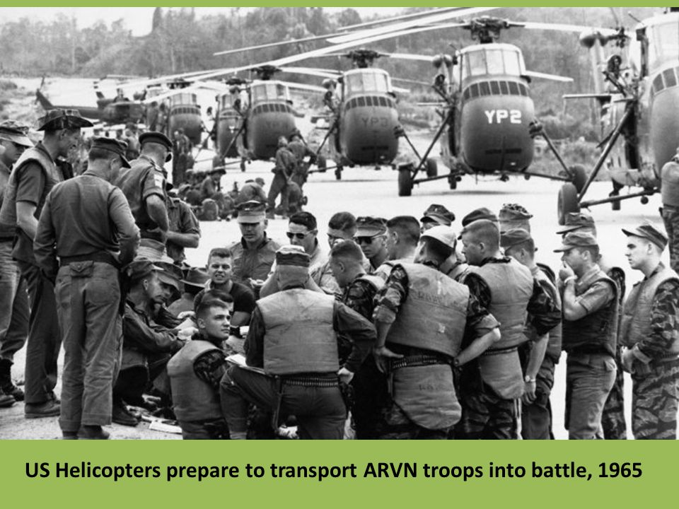 US Helicopters prepare to transport ARVN troops into battle, 1965