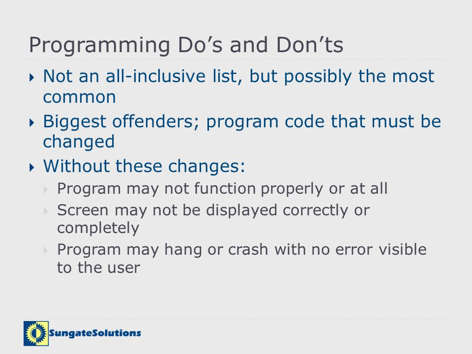 Programming Do's and Don'ts