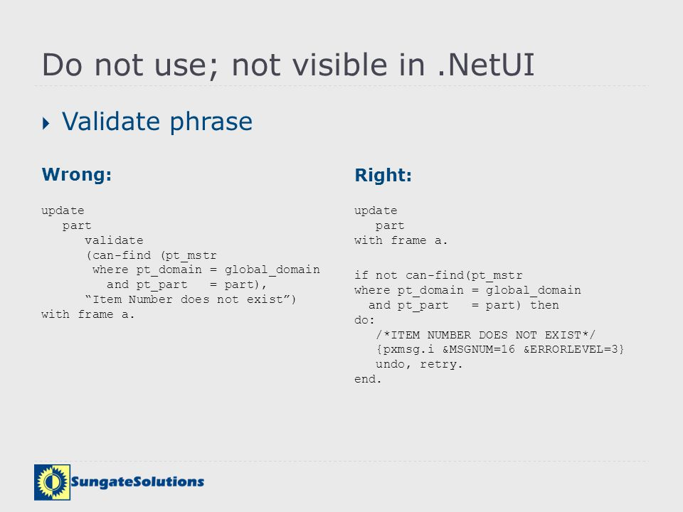 Do not use; not visible in .NetUI