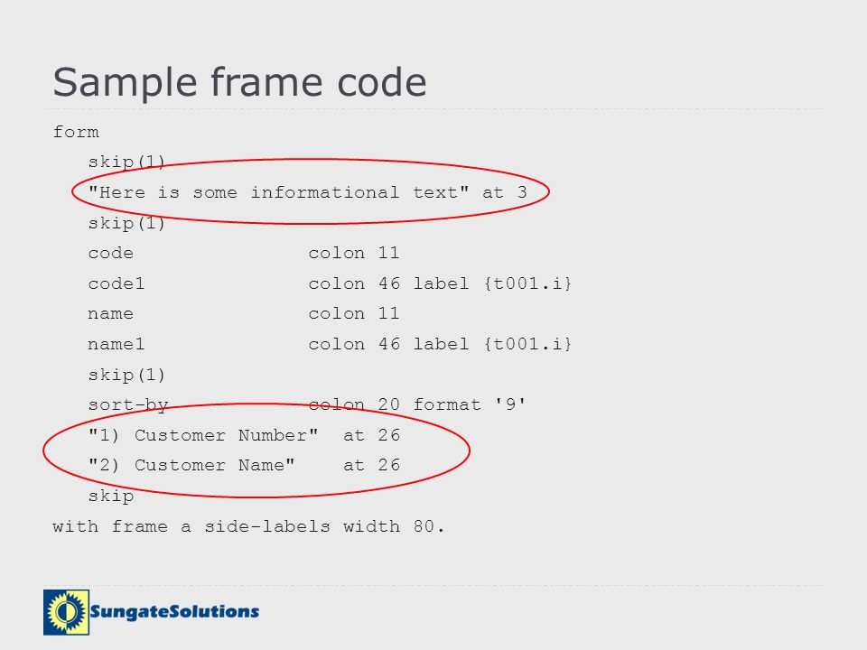 Sample frame code