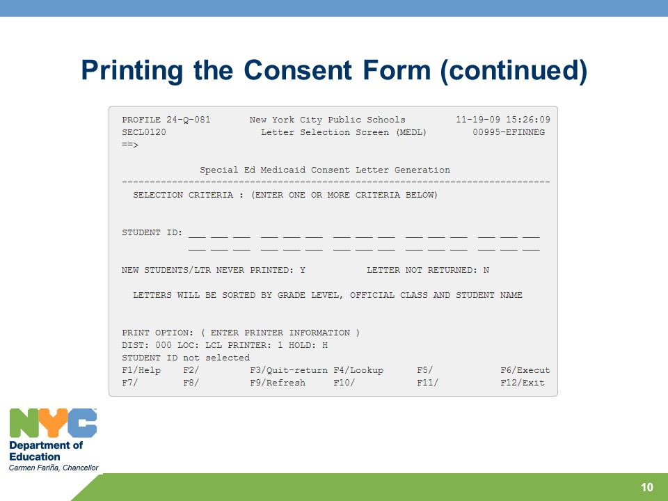 Printing the Consent Form (continued)
