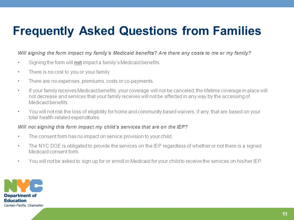 Frequently Asked Questions from Families