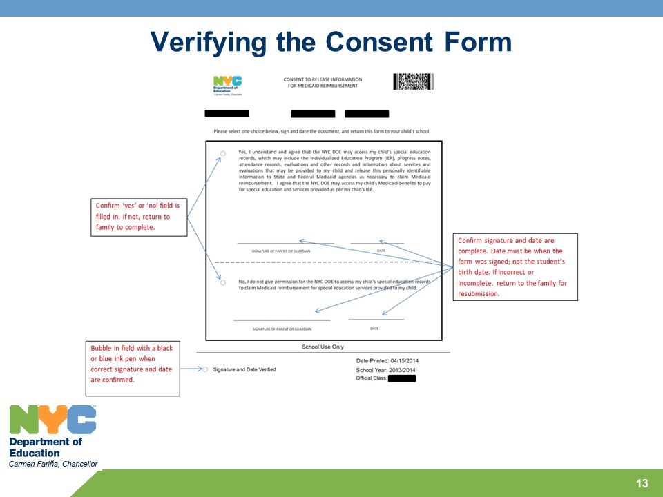 Verifying the Consent Form