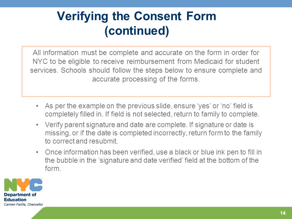 Verifying the Consent Form (continued)