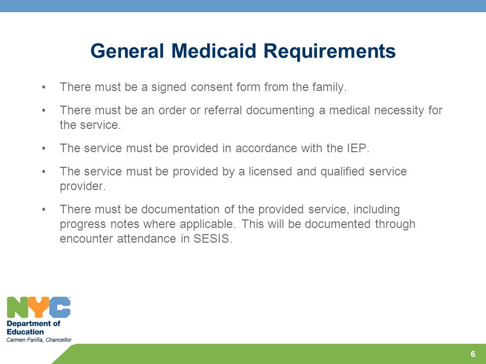 General Medicaid Requirements