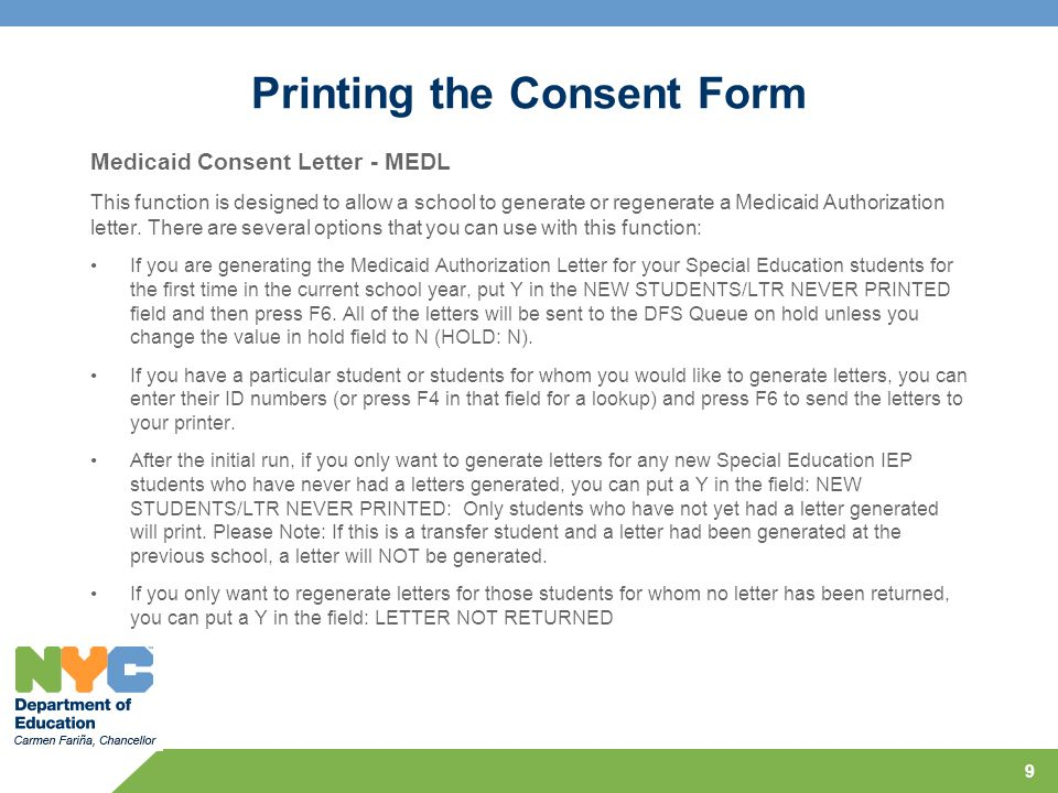 Printing the Consent Form
