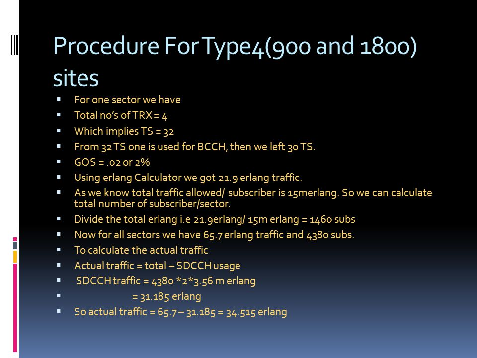 Procedure For Type4(900 and 1800) sites