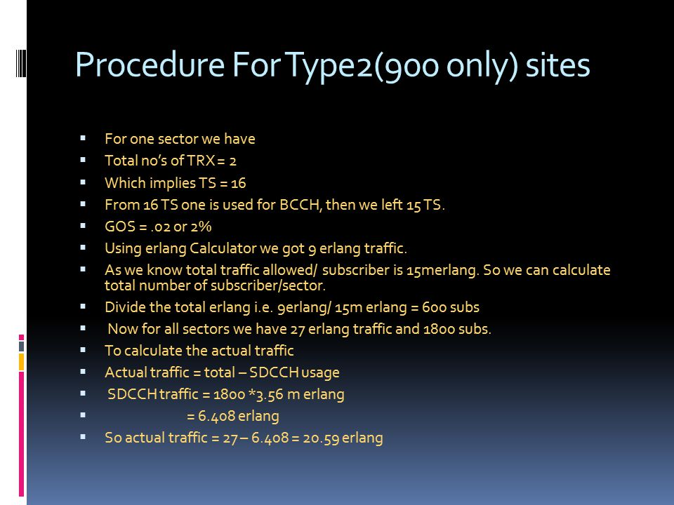 Procedure For Type2(900 only) sites