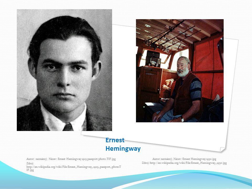 Ernest Hemingway Autor: neznámý, Název: Ernest Hemingway 1923 passport photo.TIF.jpg.