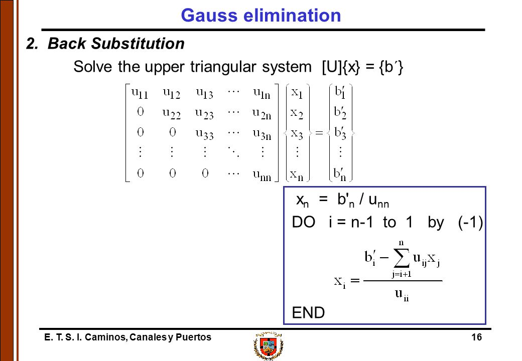 Gauss elimination 2. Back Substitution