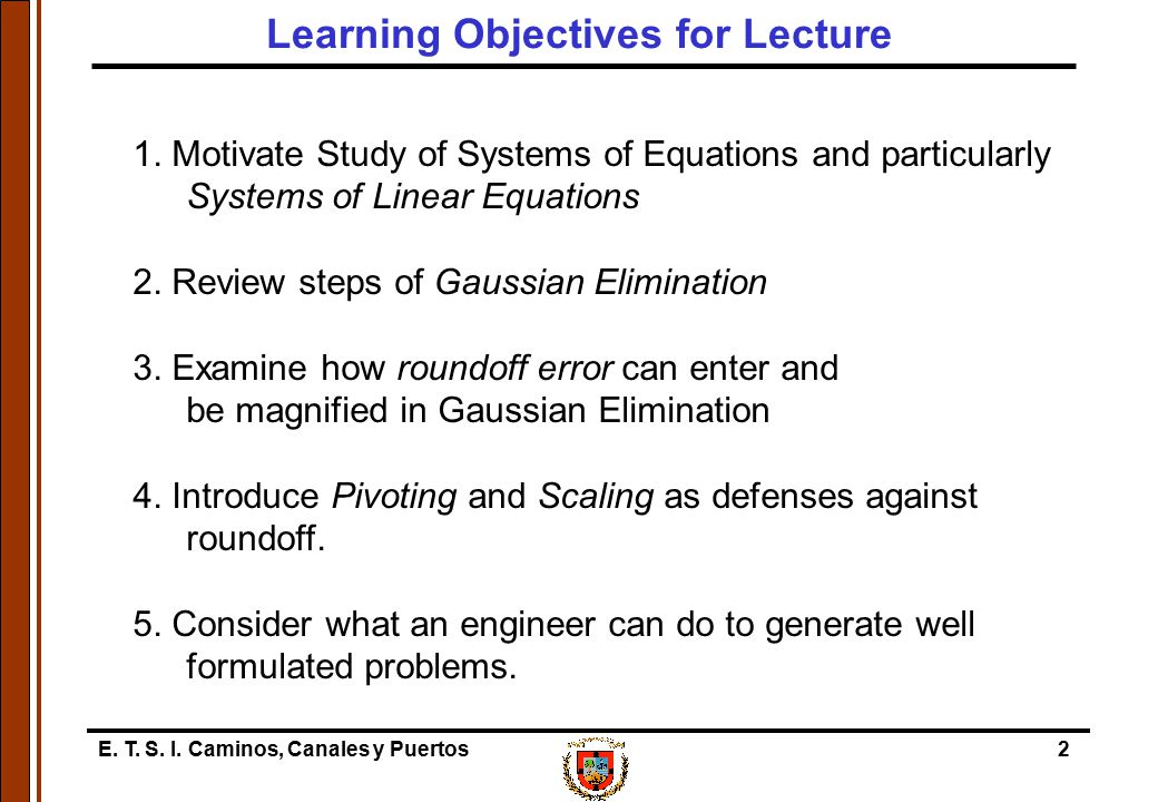 Learning Objectives for Lecture