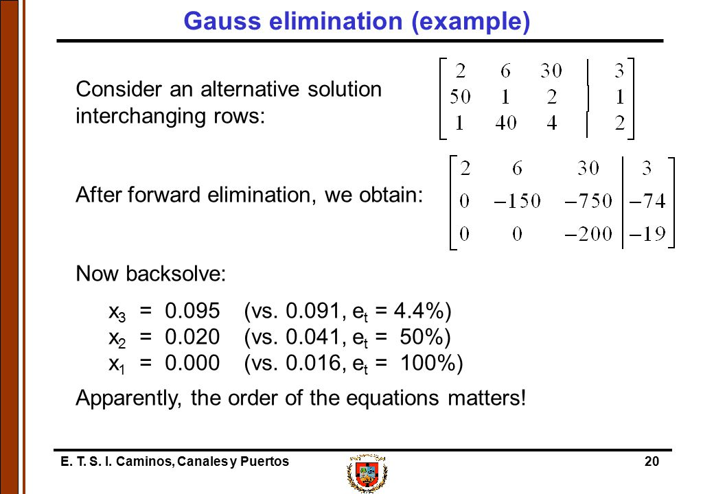 Gauss elimination (example)