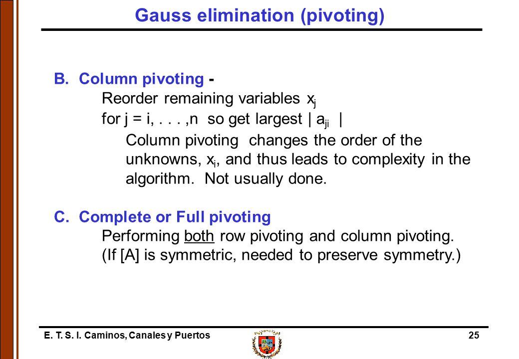 Gauss elimination (pivoting)