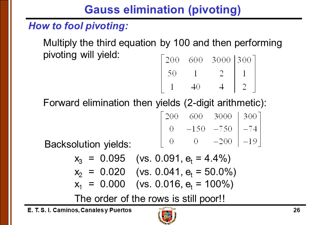Gauss elimination (pivoting)