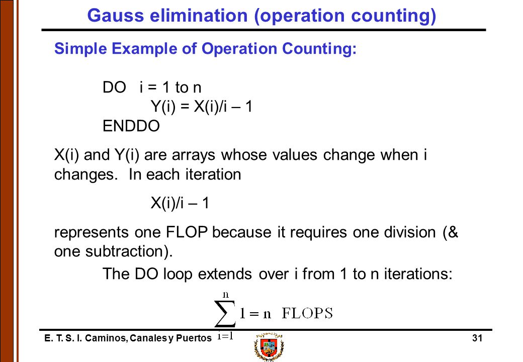 Gauss elimination (operation counting)