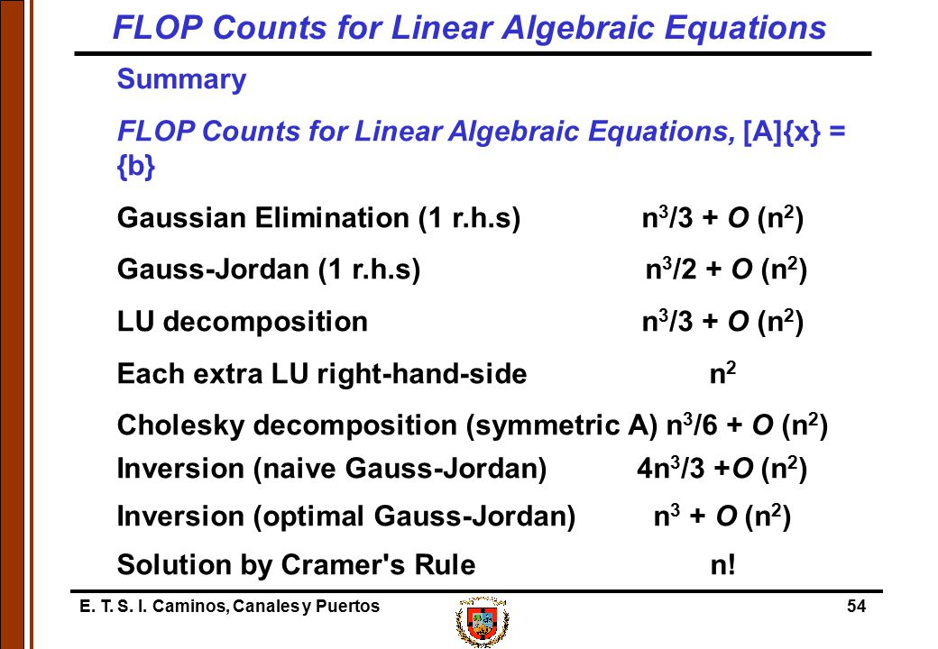 FLOP Counts for Linear Algebraic Equations