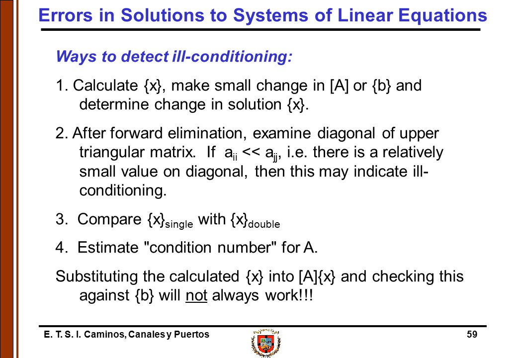 Errors in Solutions to Systems of Linear Equations
