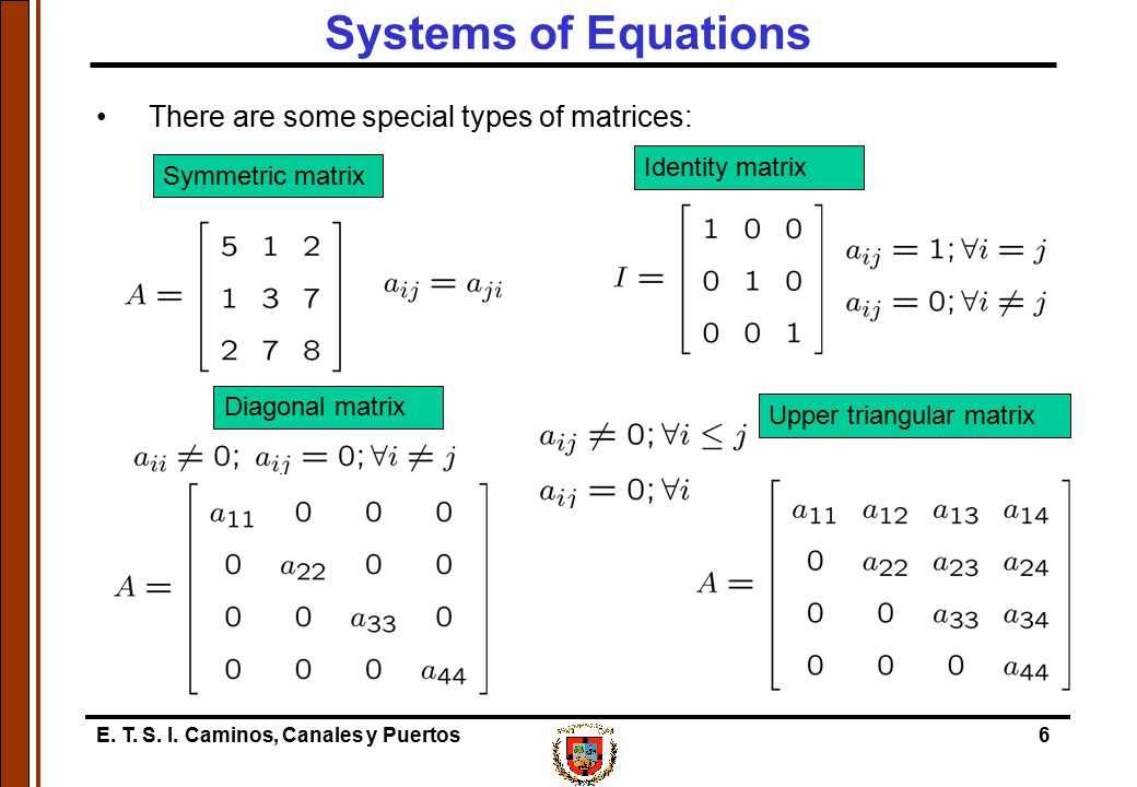 Systems of Equations There are some special types of matrices: