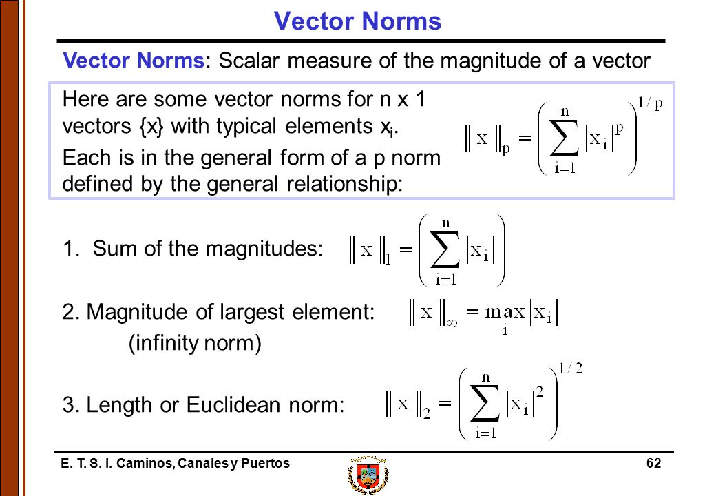 Vector Norms Vector Norms: Scalar measure of the magnitude of a vector