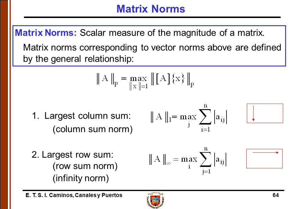 Matrix Norms Matrix Norms: Scalar measure of the magnitude of a matrix.