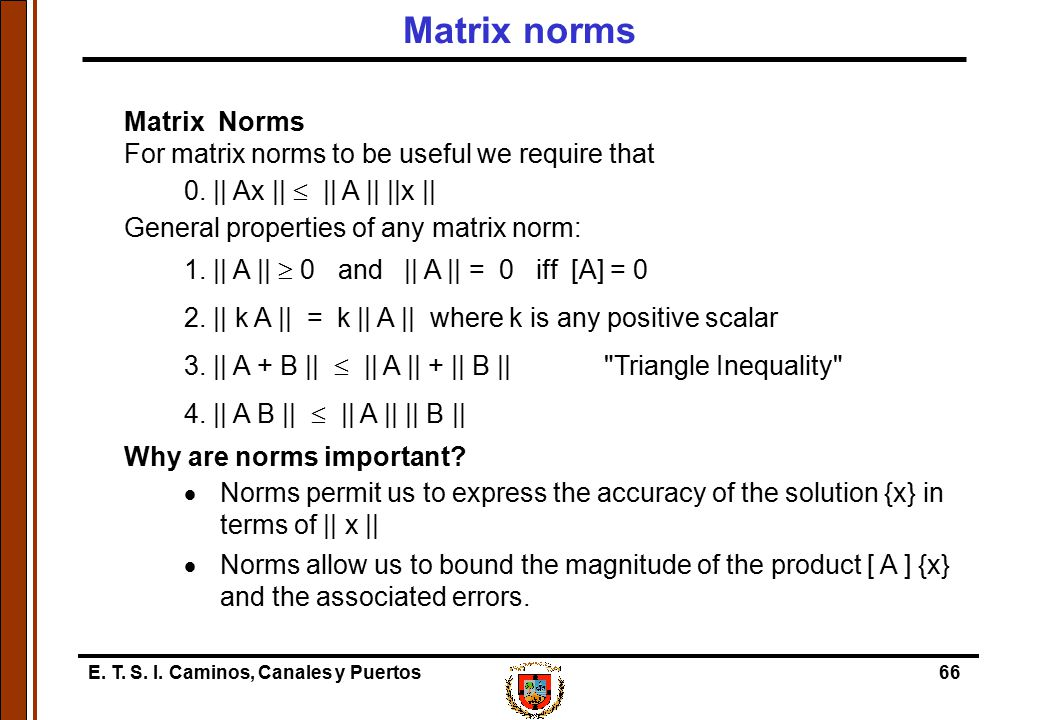 Matrix norms Matrix Norms