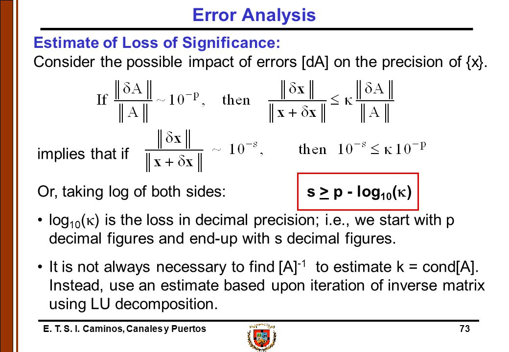 Error Analysis Estimate of Loss of Significance: