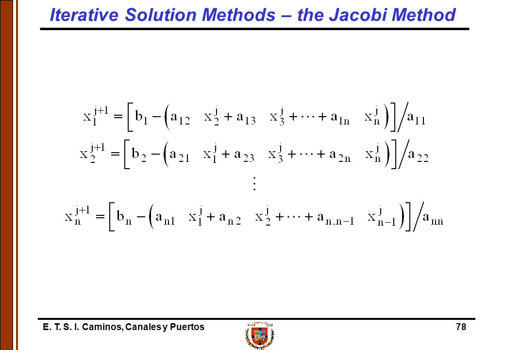 Iterative Solution Methods – the Jacobi Method