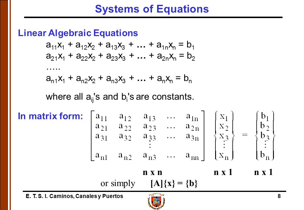 Systems of Equations Linear Algebraic Equations