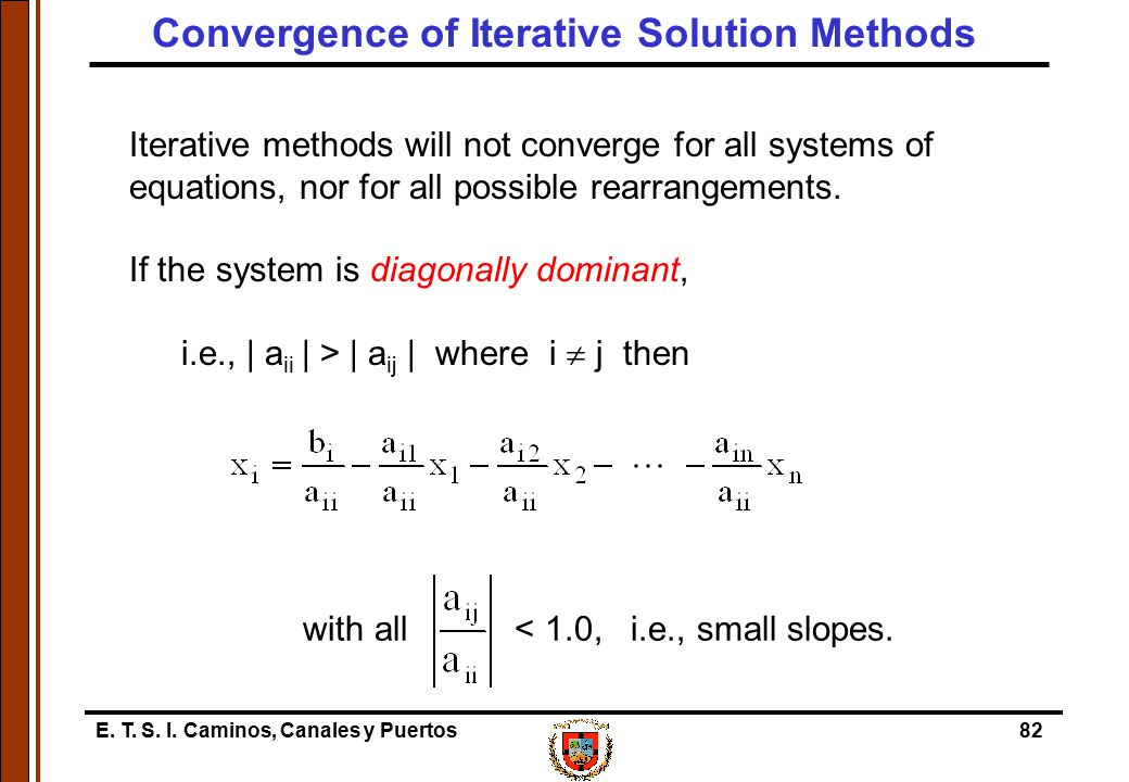 Convergence of Iterative Solution Methods