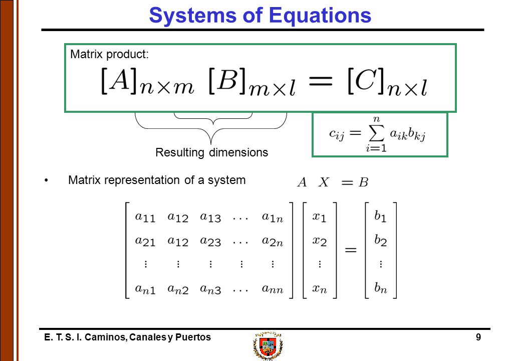 Systems of Equations Matrix product: Matrix representation of a system