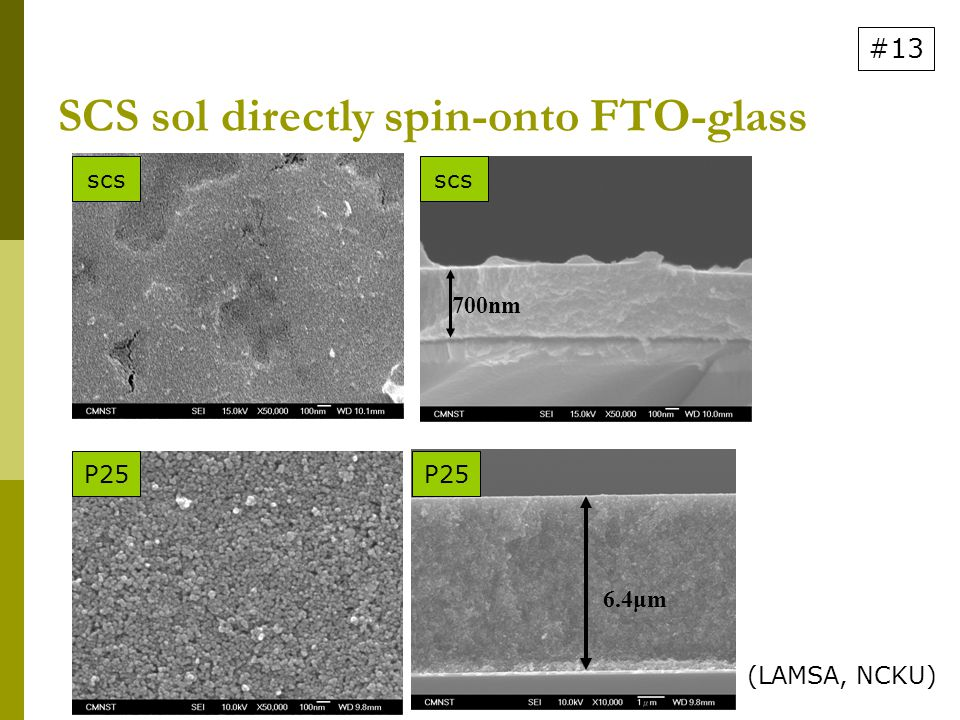 SCS sol directly spin-onto FTO-glass