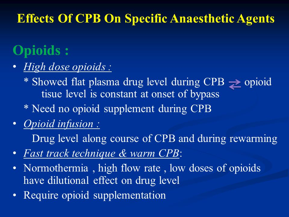 Effects Of CPB On Specific Anaesthetic Agents