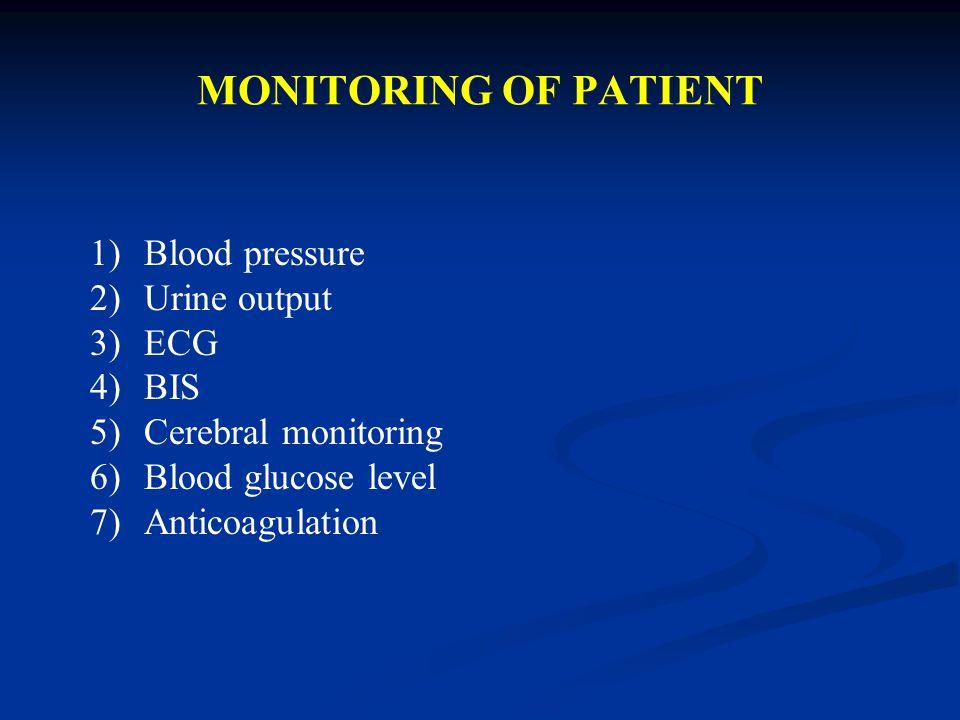 MONITORING OF PATIENT Blood pressure Urine output ECG BIS
