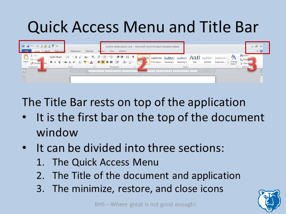 Quick Access Menu and Title Bar