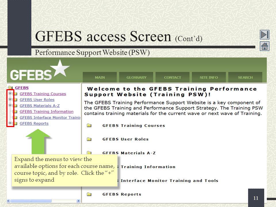 GFEBS access Screen (Cont'd)