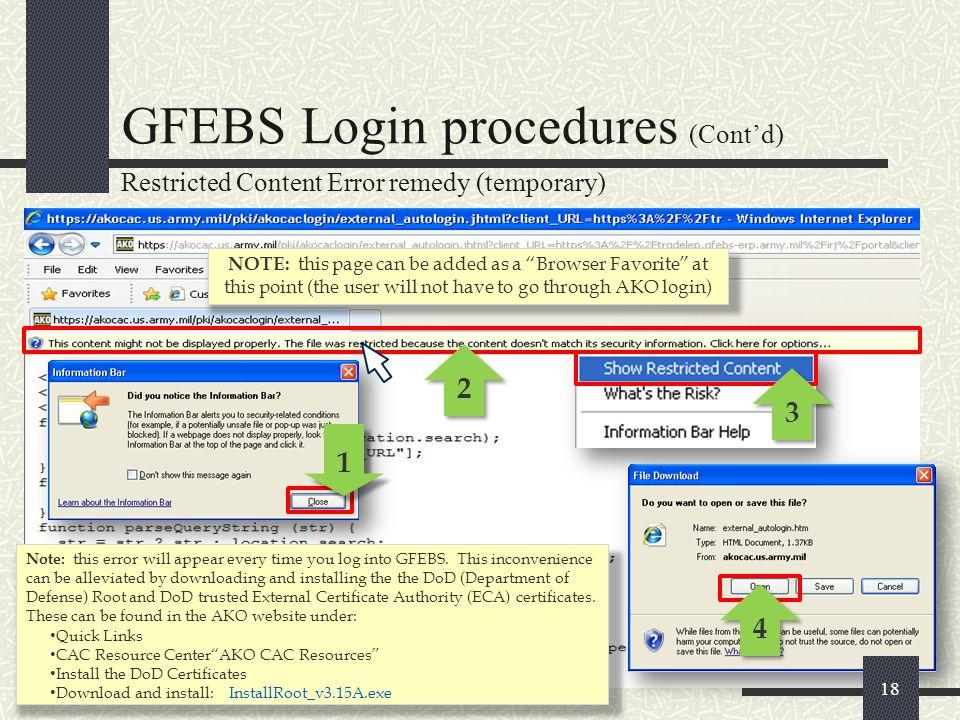 GFEBS Login procedures (Cont'd)