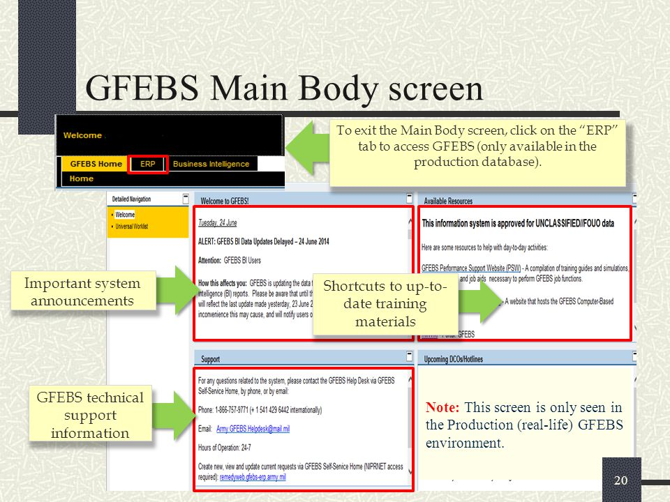 GFEBS Main Body screen Important system announcements