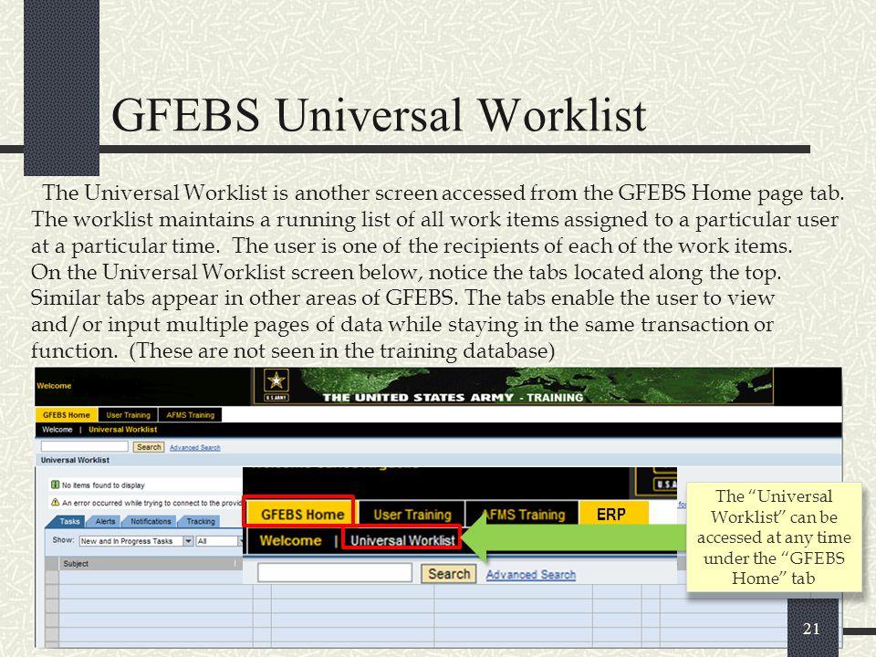 GFEBS Universal Worklist