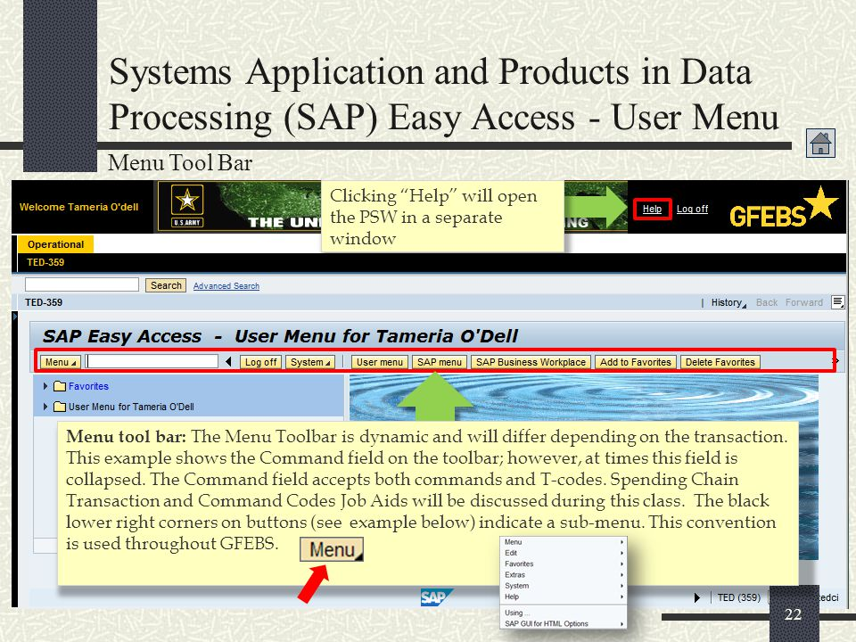 Systems Application and Products in Data Processing (SAP) Easy Access - User Menu