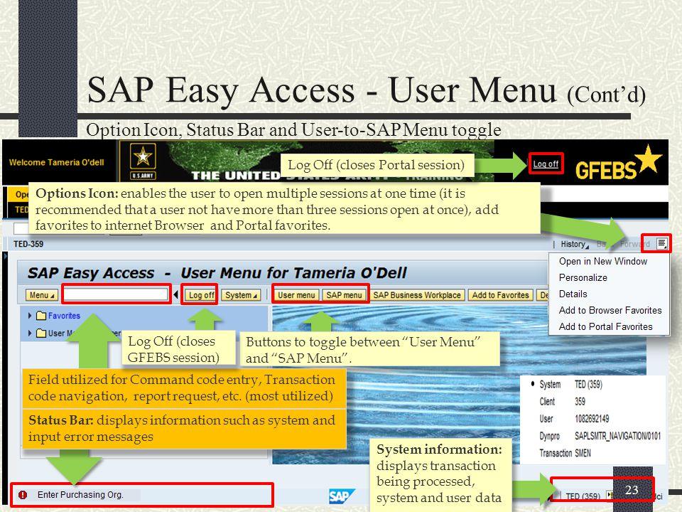 SAP Easy Access - User Menu (Cont'd)