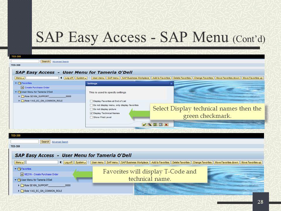 SAP Easy Access - SAP Menu (Cont'd)