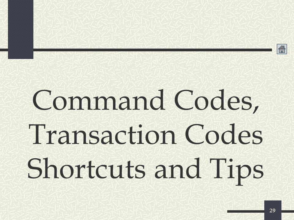 Command Codes, Transaction Codes Shortcuts and Tips
