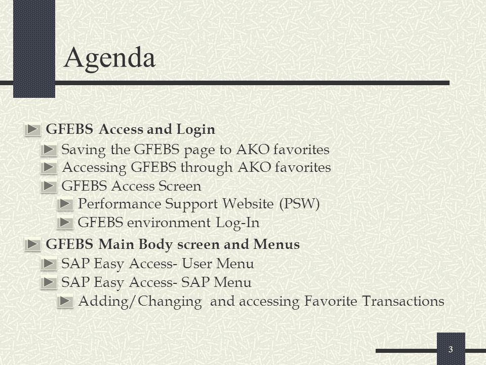 Agenda GFEBS Access and Login Saving the GFEBS page to AKO favorites