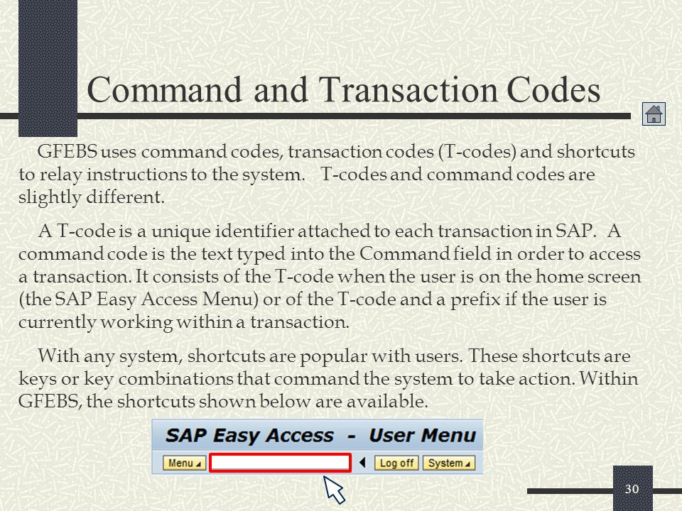 Command and Transaction Codes