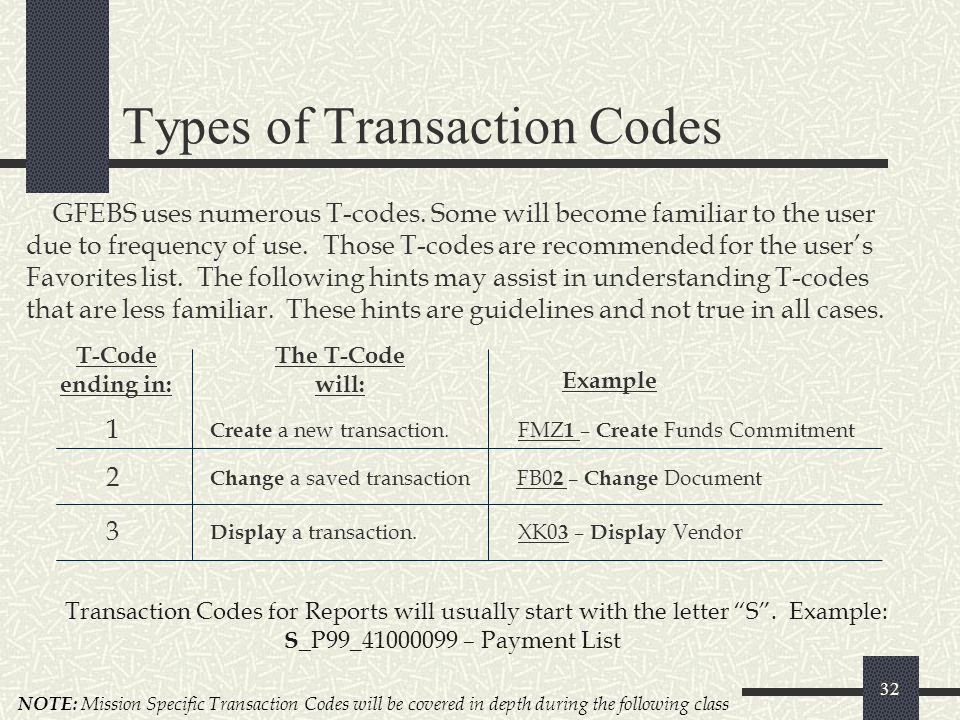 Types of Transaction Codes