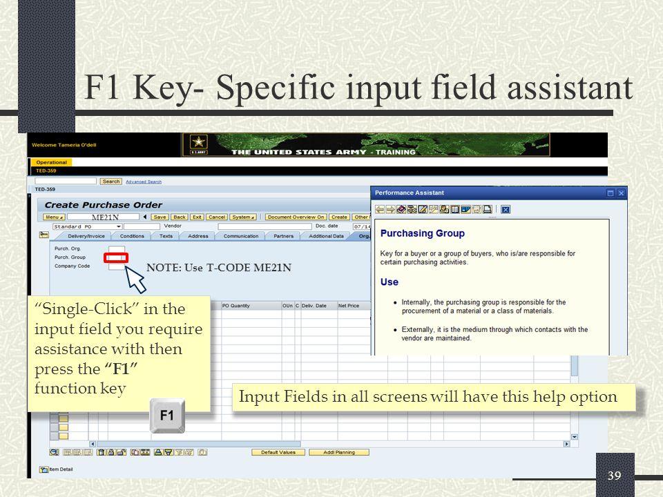 F1 Key- Specific input field assistant
