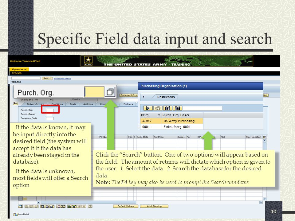 Specific Field data input and search
