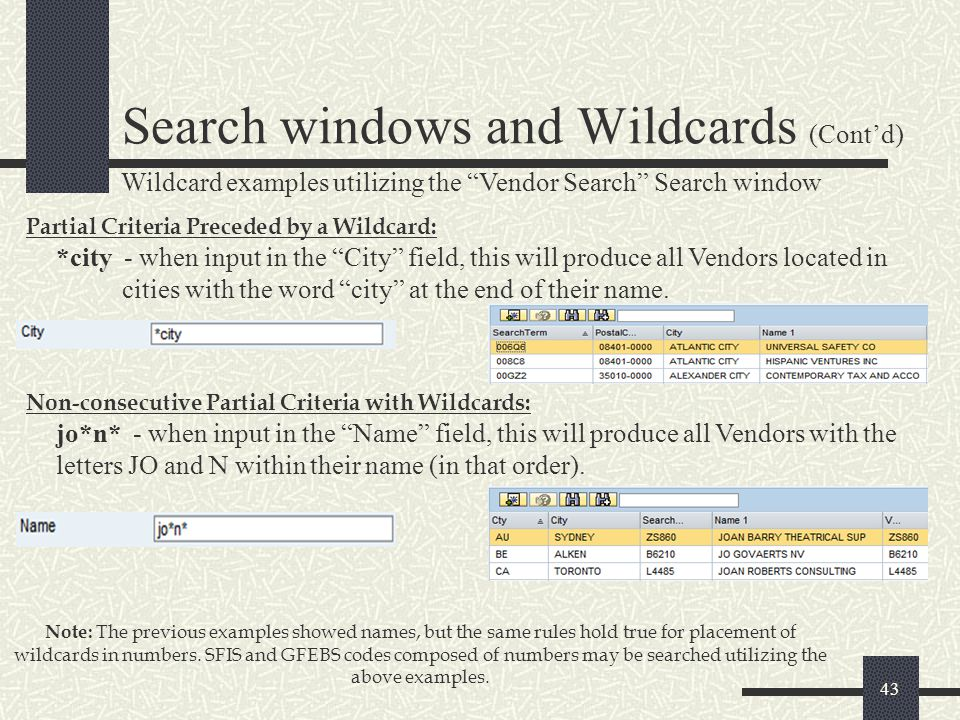 Search windows and Wildcards (Cont'd)