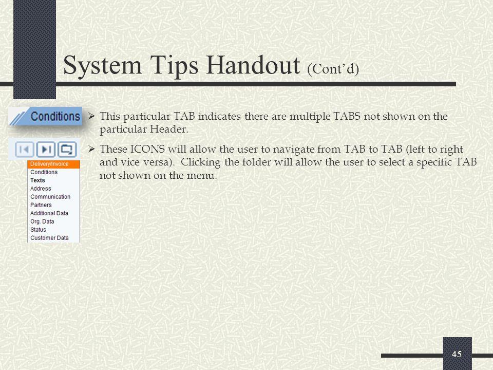 System Tips Handout (Cont'd)